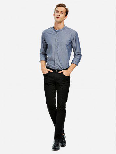 ZAN.STYLE Men Band Collar Cotton Dress Shirt - Gray Blue 3xl