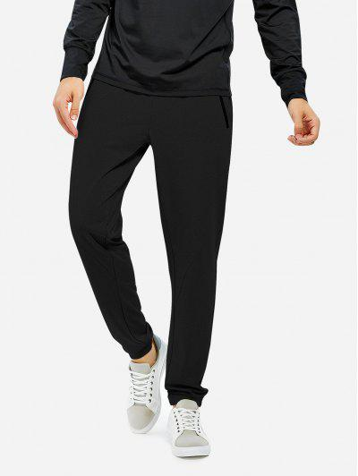 ZAN.STYLE Men Joggers Sweatpants With Zip Pocket - Black M