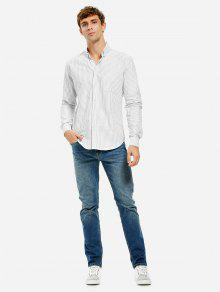 Baumwolle Oxford Kleid Shirt - Graue Weisse Streifen M
