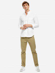 ZANSTYLE Herren Baumwollkragen Kleid Shirt - Weiß 3xl