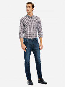 ZANSTYLE Männer Plaid Kragen Kleid Shirt - Kafee M