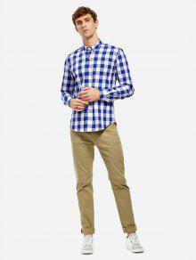 Camisa De Vestir De Cuello - Cuadro Azul L
