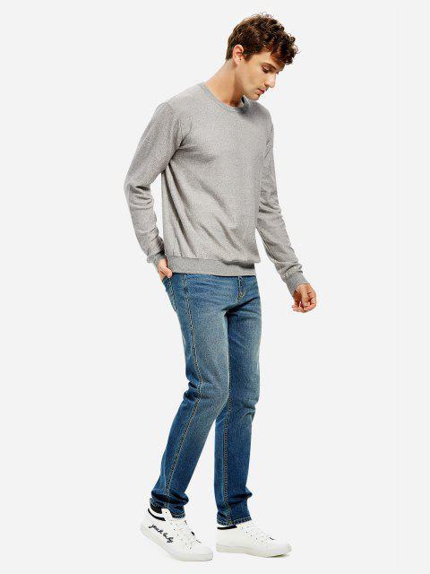 unique ZAN.STYLE Men Knitwear Crew Neck Sweater - GRAY 3XL Mobile