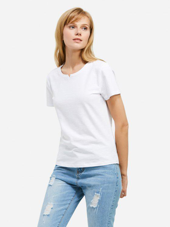 affordable ZAN.STYLE Slit Crew Neck T Shirt - WHITE L