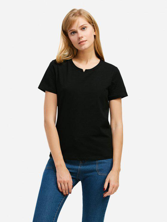 Mode Schlitz Rundhalsausschnitt T Shirt - Schwarz S