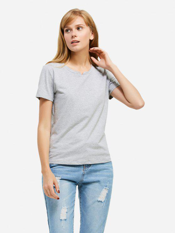 outfit ZAN.STYLE Slit Crew Neck T Shirt - GRAY M