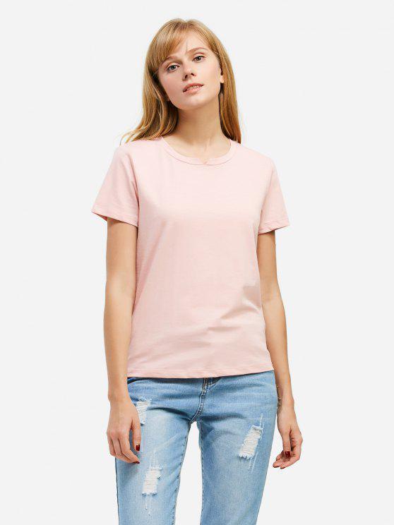 trendy ZAN.STYLE Slit Crew Neck T Shirt - PINK M