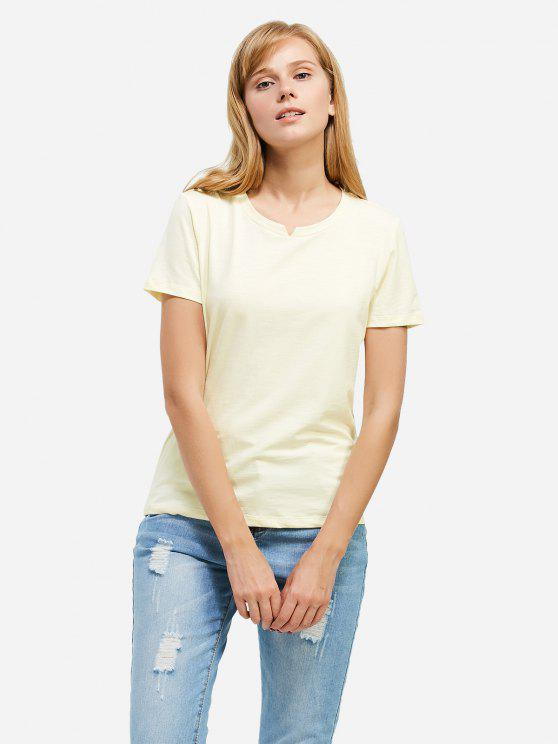 Mode Schlitz Rundhalsausschnitt T Shirt - Palomino M