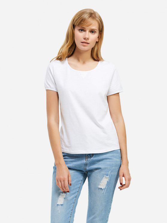 T-shirt com Gola Redonda - Branco XL