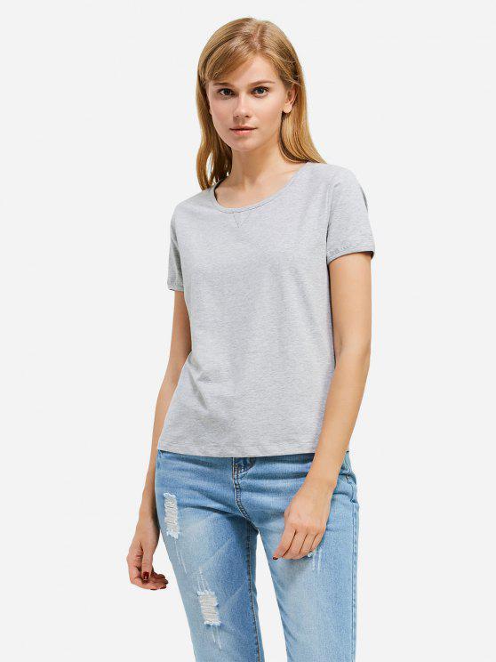 shop ZAN.STYLE Crew Neck T-shirt - GRAY L