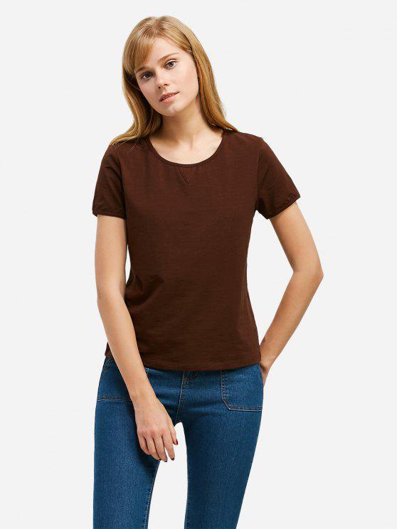 trendy ZAN.STYLE Crew Neck T-shirt - COFFEE 2XL