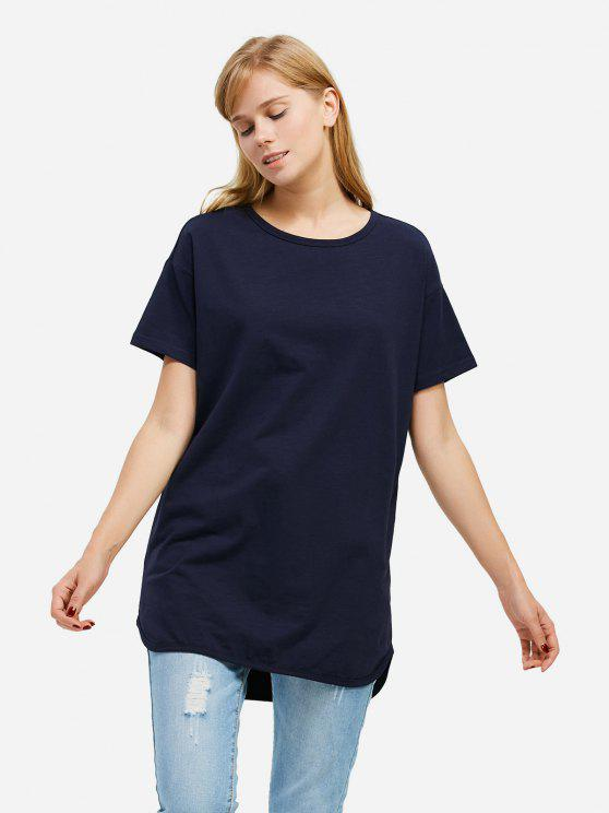 T-shirt de Longline - Azul Escuro S