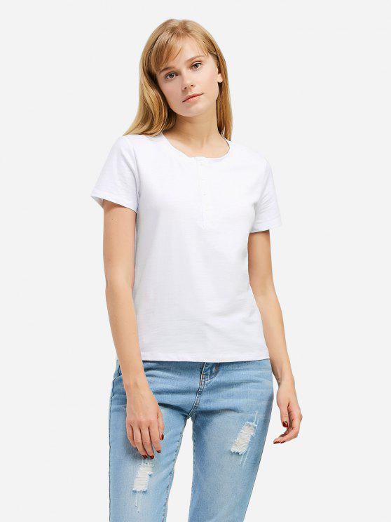womens ZAN.STYLE Half Button T-shirt - WHITE L