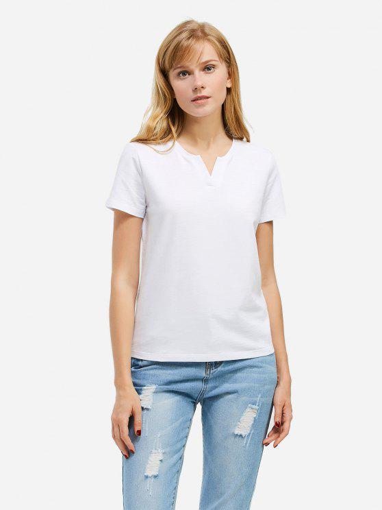 T-Shirt à Col Fendu - Blanc 2XL