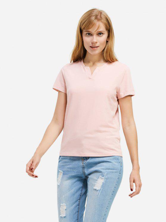 T-Shirt de V Gola para Mulheres - Rosa 2XL