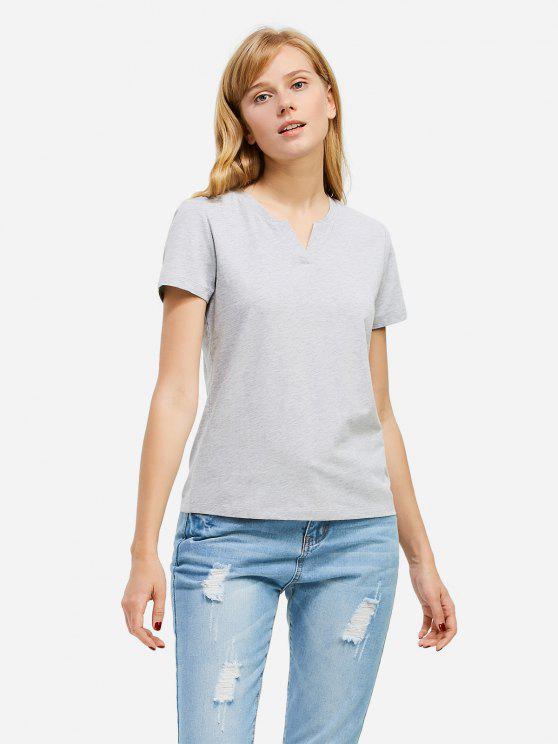 T-Shirt à Col Fendu - Gris L