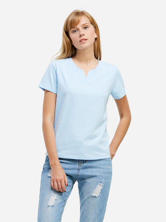 best ZAN.STYLE Split Neck T-shirt - LIGHT BLUE L