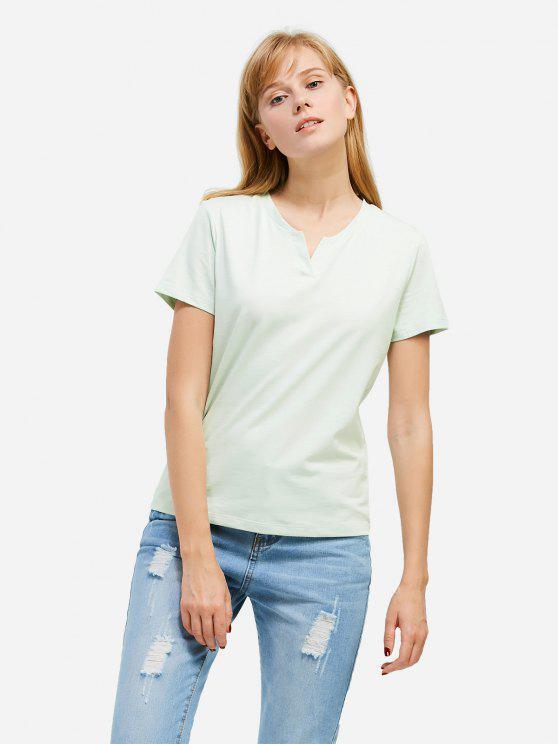 hot ZAN.STYLE Split Neck T-shirt - LIGHT GREEN 2XL