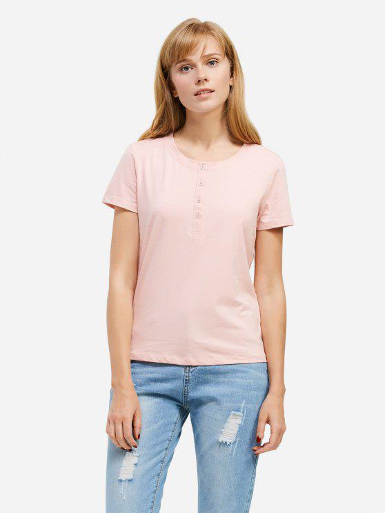 T-Shirt avec Bouton à Moitié - Rose  XL