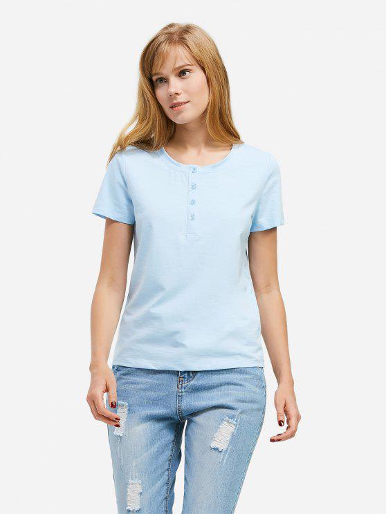 T-Shirt avec Bouton à Moitié - Bleu Léger  S