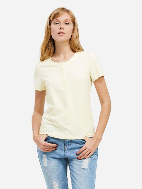 shop ZAN.STYLE Half Button T-shirt - PALOMINO L
