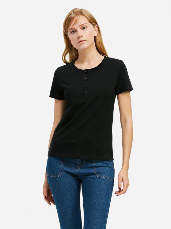 T-Shirt avec Bouton à Moitié - Noir XL