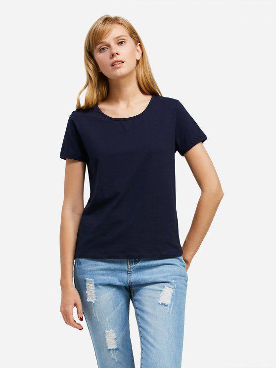 affordable ZAN.STYLE Crew Neck T-shirt - DEEP BLUE XL