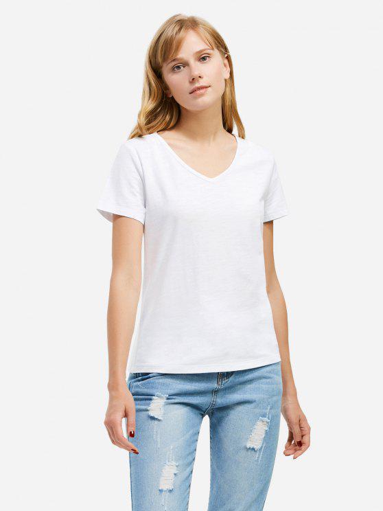 T-Shirt com Gola Profunda V - Branco 2XL