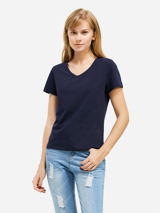 T-Shirt com Gola Profunda V - Azul Escuro 2XL