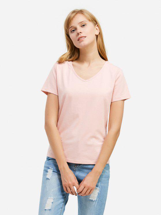 T-Shirt à Col en V - Rose  2XL