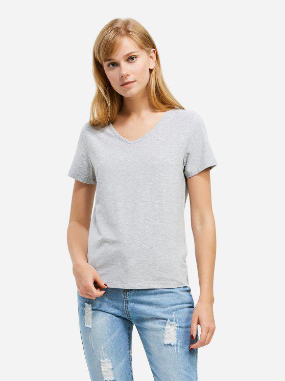 T-Shirt à Col en V - Gris S