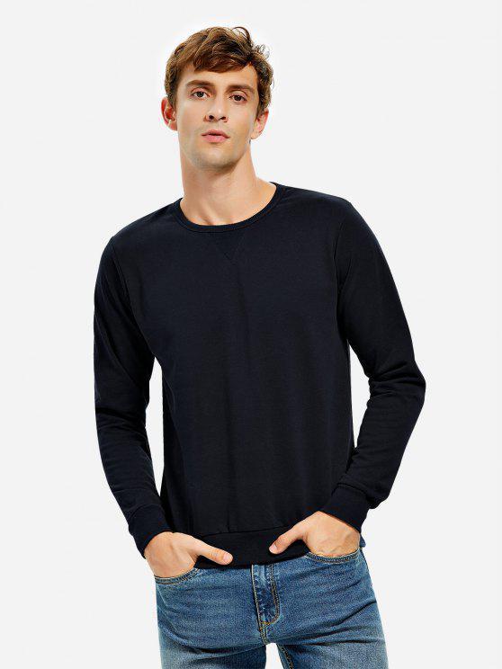 buy ZAN.STYLE Crew Neck Sweatshirt - DEEP BLUE 3XL