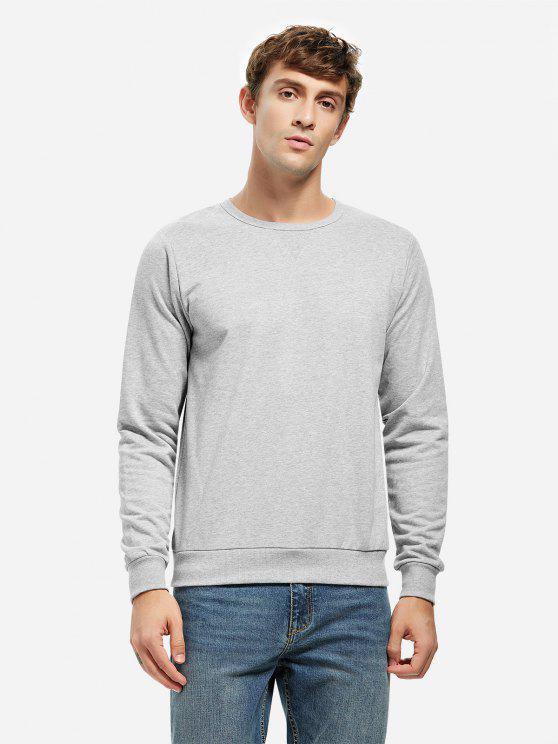 best ZAN.STYLE Crew Neck Sweatshirt - LIGHT GRAY 2XL
