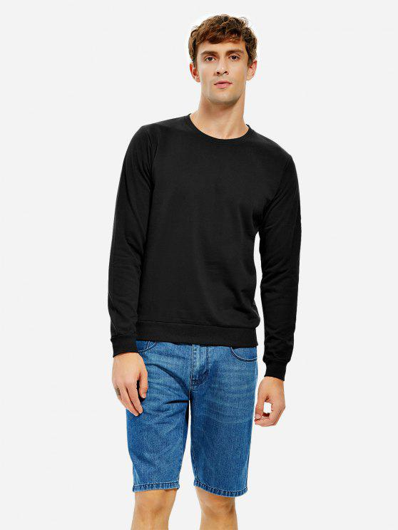 trendy ZAN.STYLE Round Neck Sweatshirt - BLACK 3XL