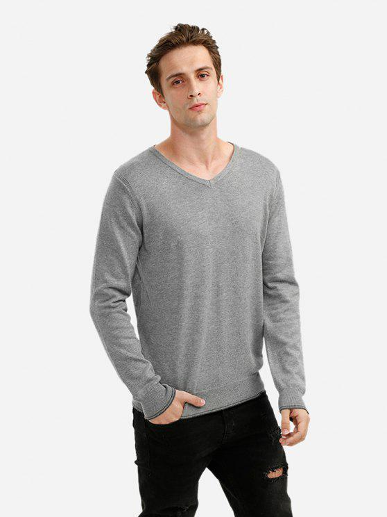 ZANSTYLE V-Ausschnitt Langarm Pullover Strickwaren für Männer - Grau 2XL