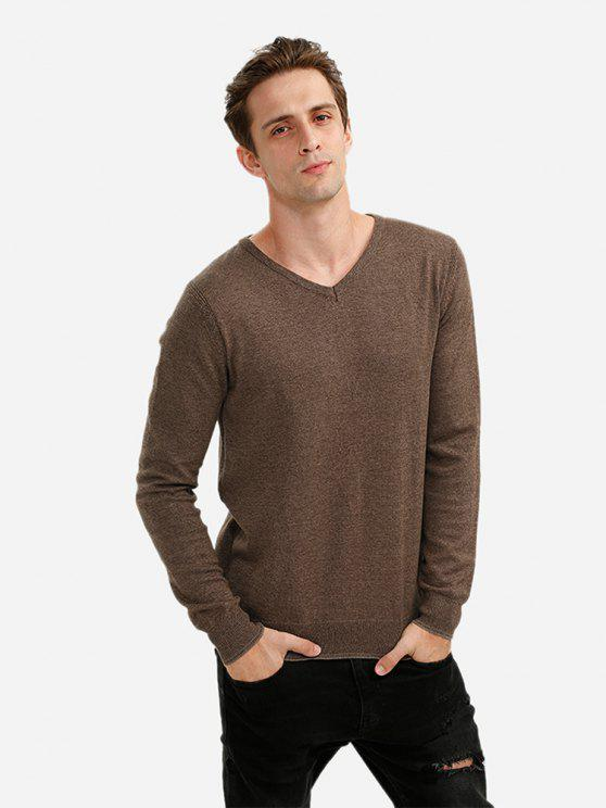 ZAN.STYLE V-neck Cotton Blend Knitwear - コーヒー 3XL