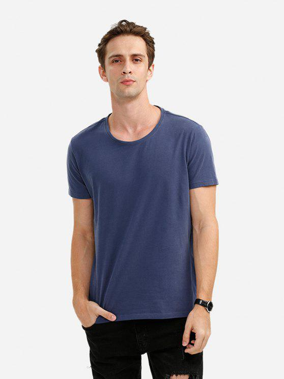 best ZAN.STYLE Crew Neck T Shirt - DEEP BLUE M