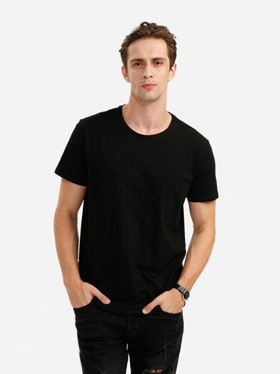 fashion ZAN.STYLE Crew Neck Tee - BLACK XL