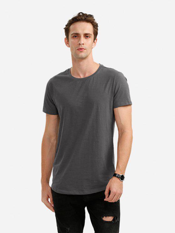 T-Shirt de Gola Redonda para Homens - Cinzento M