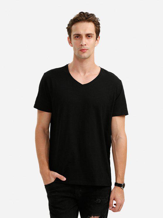 trendy ZAN.STYLE V Neck Tee - BLACK L