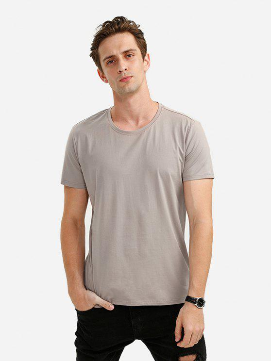 outfit ZAN.STYLE Round Neck Tee - LIGHT COFFEE M