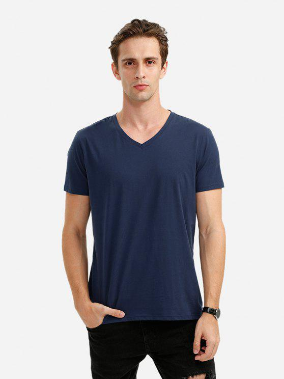 affordable ZAN.STYLE V-neck Tee - DEEP BLUE L