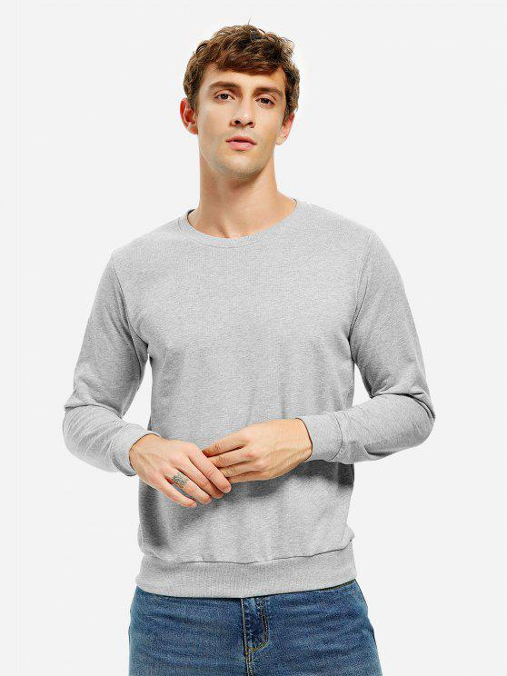 shop ZAN.STYLE Round Neck Sweatshirt - LIGHT GRAY XL