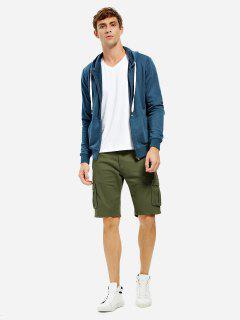 Zip Up Hooded Sweatshirt - Blue M