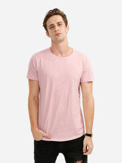 T-Shirt à Col Rond  - Rose Clair Xl