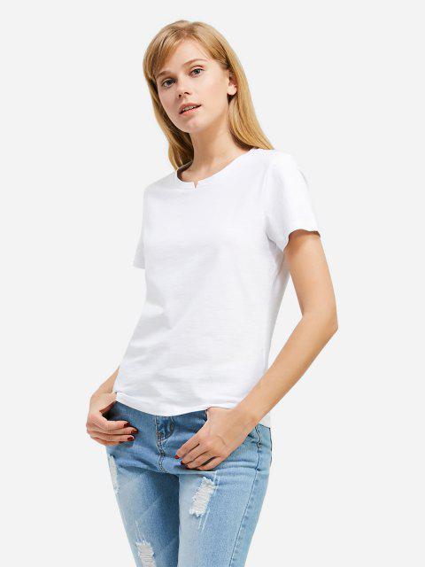 Mode Schlitz Rundhalsausschnitt T Shirt - Weiß XL Mobile