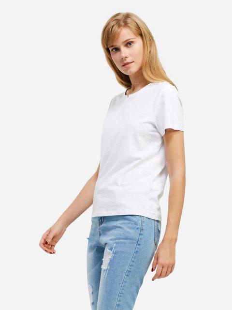 affordable ZAN.STYLE Slit Crew Neck T Shirt - WHITE L Mobile