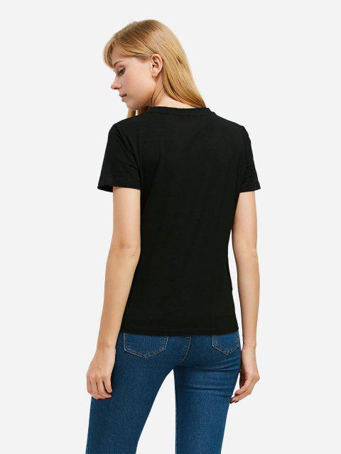 Mode Schlitz Rundhalsausschnitt T Shirt - Schwarz XL Mobile