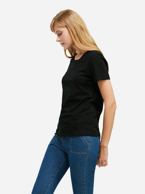 ladies ZAN.STYLE Slit Crew Neck T Shirt - BLACK L Mobile