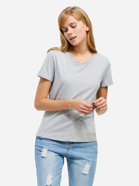 online ZAN.STYLE Slit Crew Neck T Shirt - GRAY 2XL Mobile